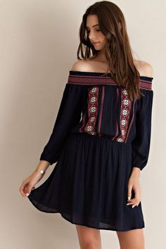 91796773f2dc Embroidered Off Shoulder Peasant Dress