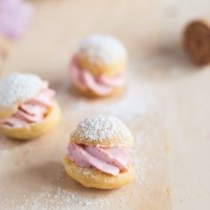 Profiteroles with Strawberry Cream. These mini profiteroles with strawberry cream make the perfect little treat for any get together Mini Desserts, Just Desserts, Delicious Desserts, Dessert Recipes, Yummy Food, Eclairs, Profiteroles Recipe, Slow Cooker Desserts, Pastry Recipes