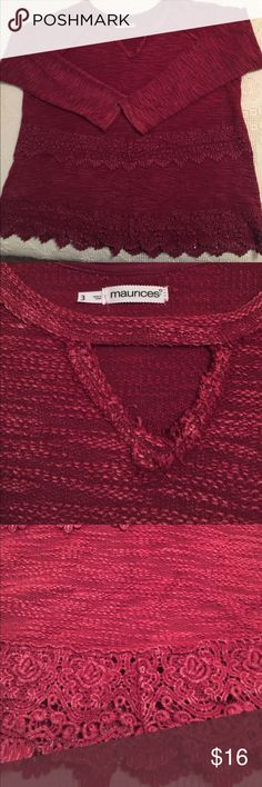 Red women's sweater! 💄 Maurice's beautiful soft crimson red chenille sweater!!!  Long sleeves with lace detailing.  Scoop neckline with keyhole.  Pair it up with a scarf for fall fashions with jeans or leggings.  A great find!!! Maurices Sweaters Crew & Scoop Necks