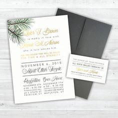 Pine Wedding Invitation  Gold Wedding by ChynnaHansenDesigns