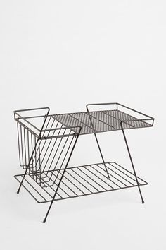 Magazine Rack and Basket in Black - Urban Outfitters from Urban Outfitters. Shop more products from Urban Outfitters on Wanelo. Vintage Furniture, Home Furniture, Modern Furniture, Furniture Design, Wire Storage, Table Storage, Storage Rack, Home And Deco, Mid Century Design