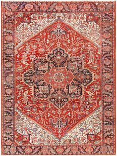 Antique Room Sized Persian Heriz Rug 48314 Main Image - By Nazmiyal