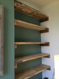 Like the neater appearance of these as opposed to other more rustic styles Chimney Breast Shelves, Bedroom Chimney Breast, Chimney Breast Decor, Brick Chimney Breast, Chimney Decor, Teal Shelves, Diy Wooden Shelves, Rustic Shelving, Dvd Shelves
