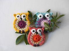 Crochet Coruja Applique Padrão