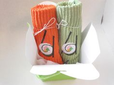 Orange and Green Sushi and Chopsticks  by BeadsandThreadsbyAmy, $8.50