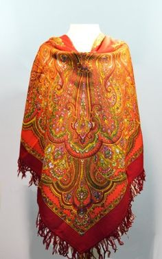 """Red Maroon Russian Pavlov Posad Woolen Shawl Woolen Fringe by Private. $98.99. Among unique, world-wide known products, presenting pride and glory of Russia, a particular place occupy shawls from an ancient town of Pavlovsky Posad Every year """"Pavlovo Posad Shawl Manufactory"""" issues around 300 kinds of shawls, kerchiefs, scarves, cache-nez, tablecloths of natural fibers: wool, cotton, silk. Recognition of a high art and cultural value of our products is the fact that..."""