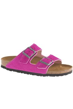 Double-Strap SandalsYour classic Birkenstocks got a calf-hair update — in fuchsia, no less.