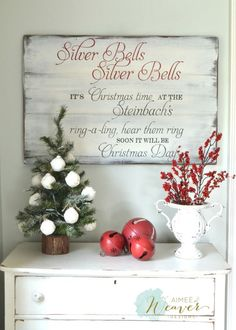 Rustic Christmas Silver Bells sign. #Rusticchristmas