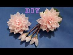 ❀ ✾ ❁ D.I.Y. Elegant Organza Kanzashi Flower with Dangles ❁ ✾ ❀. Link download: http://www.getlinkyoutube.com/watch?v=FUtFCHbTES8