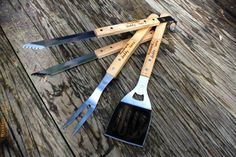 Personalized Grill tool set - Engraved BBQ Tools - Fathers Day Gift - Husband Gift- Dad gift- Hand engraved custom designed