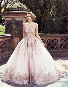 BridalPulse Wedding Dress Gallery   YSA Makino Couture Collection   Floor Blush Ball Gown Illusion $$$$$ ($5,001 and up) See more on @BridalPulse