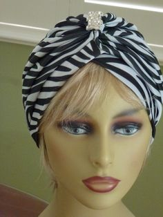 Items similar to Chemo Black and White Zebra Print Turban with Decorative Pin on Etsy Scarves For Cancer Patients, Striped Shoes, Turban Style, White Zebra, Bad Hair Day, Zebra Print, Head Wraps, Turbans, Black And White