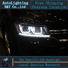 539.40$  Watch now - http://alig35.worldwells.pw/go.php?t=32473974752 - Car Styling FREEMONT LED Head Lamp for FIAT FREEMONT 2009-2014 LED Headlight angel eye headlight BI XENON front accesspories