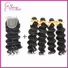 4 Bundles Loose Wave, Virgin Malaysian Hair Human Hair Extensions No shed No tangle Soft+(12Inch) Top Lace Closure ,5pcs DHL freeshiping
