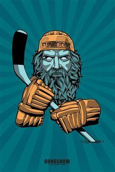 Flowseidon Hockey Poster - Gongshow Gear - Lifestyle Hockey Apparel Hockey Posters, Bruins Hockey, Hockey Apparel, Vintage Prints, Art Pieces, Seasons, Lifestyle, Fictional Characters, Dorm Room