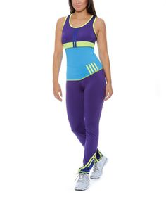 This Purple & Turquoise Tank & Leggings by True Rock is perfect! #zulilyfinds