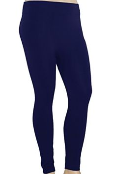 5d7a9562e45  Stylzoo Women s  Fleece Leggings Large XL 1X 2X L One Size Plus Navy Blue