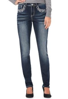 Cato Fashions Crystal Cross Skinny Jeans-Petite  #CatoFashions