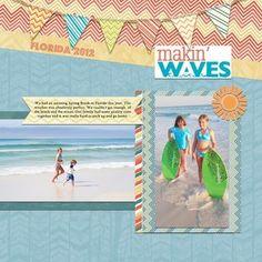 Makin' Waves Summer Additions Digital #Scrapbooking Layout Idea from Creative Memories  http://www.creativememories.com