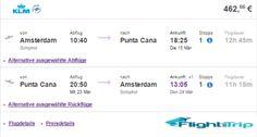 KLM FLUG IM MÄRZ 2016 VON AMSTERDAM NACH PUNTA CANA FÜR 463 EURO