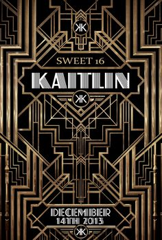 Kaitlin's Sweet 16 Great Gatsby Save The Date Invite