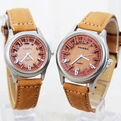 Jam couple fossil number couple leather light brown | Rp 120rb
