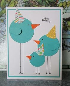 "handmade birthday card: HEARTWARMERS FROM VICKI ... punch art long legged circle birds wearing party hats ... great design ... two-step bird punched wings on ""adults"" .... …"