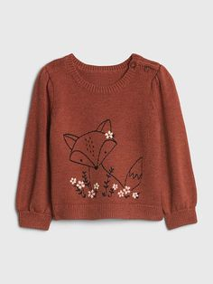 Baby Fox Critter Sweater   Gap Rene Gruau, Baby Pullover, Brown Sweater, Gap Kids, Embroidery Designs, Fox, Knitting, Long Sleeve, Sleeves