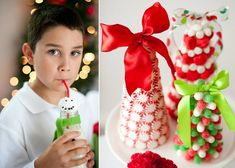 candy Christmas trees centerpiece