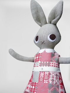 Rabbit in pink patchwork dress by Nanette Regan, via Flickr