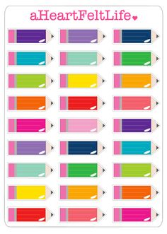 Rainbow Pencil Stickers for your Erin Condren by aHeartFeltLife