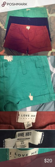 SET OF 3 - Forever 21 Navy maroon teal shorts 25 Set of 3 shorts as shown. Size 25, can fit 24 as well. Brand is heritage 81 by Forever 21. The teal one has a tiny stain on the front, as pictured. Can probably be washed off. All in great condition. Forever 21 Shorts