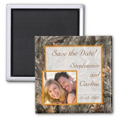 Camo Save the Date Wedding Invitations Hunter's Camo Chic Wedding Announcement Magnet