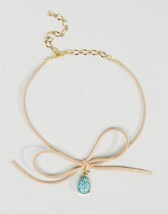 Светло-коричневое ожерелье-чокер с завязкой Love Rocks