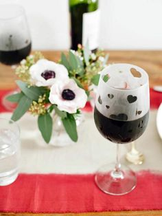 Etched Wineglasses - Easy Handmade Valentine's Day Crafts on HGTV