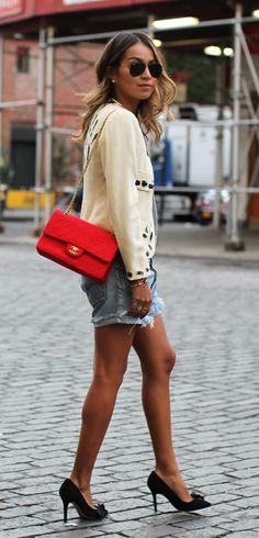 Vintage Moschino Jacket • 501 Levi's Short • Vintage Chanel Jersey Bag • Isabel Marant Heels