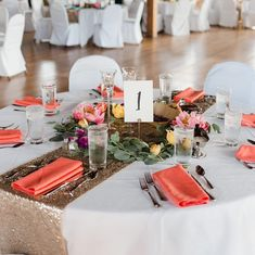We love a bold napkin! It sets the tone for the rest of the room and is an easy way to incorporate color into your wedding