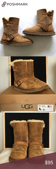 UGG Classic Short Dylyn Size 8 UGG Classic Short Dylyn. Color is a Brown Chestnut. Round toe. Genuine sheepskin construction. Buckle strap detail. Exposed seam detail. Pull on style. Great used condition, please see pics for wear. Some imperfections as shown, one small slit, does not go all the way through. Size US 8 UK 6.5. *Can come with original box, just let me know!* All photos taken in natural light. Make an offer! 🎉 UGG Shoes Winter & Rain Boots