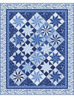 Pretty stars shine in peaceful blue tones.   An array of beautiful stars are front-and-center in this delightful quilt kit! The different tones of blue and floral designs on the fabric make it a traditional yet still modern quilt that will match just about any decor. Kit includes all the necessary fabric to make the top of the quilt, plus the binding. Purchase the Porcelain Blue 8 1/2-yd cut (shown below) to use as the backing to really pull the whole look together. Finished quilt is 91…