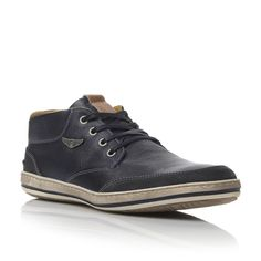 DUNE MENS SUBMARINE - Side Badge Leather Trainer - navy | Dune Shoes Online