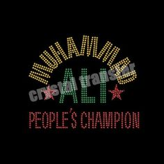 Rhinestone Transfers for Muhammad Ali People's Champion