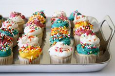 To make mini-cupcakes:  * Purchase a mini cupcake pan at most stores (Target, Walmart).  * Use Candy Cups for holders (found at craft stores such as Michaels and Joanns).  * Place about 1 Tablespoon of batter in each cup and cook for about 8-10 minutes.