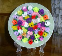 """Decorative Wall Plate """"Crocuses"""" Multicolored Flowers made of polymer clay Interior decoration"""