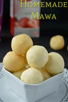 Step by step recipe on How to make mawa - 5 ways of making mawa.How to make Mawa or Khoya at home from milk powder, homemade khoya recipe,khoya with ricotta Best Indian Recipes, Indian Dessert Recipes, Indian Sweets, Indian Snacks, Indian Foods, Eggless Desserts, Easy Desserts, Delicious Desserts, Yummy Food