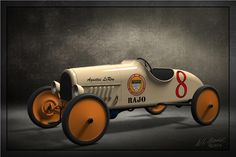Vintage automobile prints, RAJO Speedway Racer modeled in SolidWorks, rendered in KeyShot by Bill Gould. Prints on x Moab Exhibition Luster 300 weight media. Pedal Cars, Race Cars, Alfa Romeo Cars, Wooden Car, Bmw Series, Vintage Race Car, 3d Prints, Ford Gt, Classic Toys