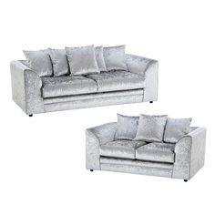 Zinc 2 Piece Sofa Set Castleton Home Upholstery: Silver Silver Velvet Sofa, Velvet Sofa Set, Crushed Velvet Sofa, Conservatory Sofa, 3 Piece Sofa, Sofa Bed Size, Leather Sofa Set, Public Seating, 2 Seater Sofa