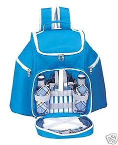 $86.80 - Free Shipping - Sutherland Baskets Skyline Picnic Backpack Service for 2 Sky Blue