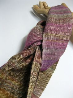 Handwoven Silk and Wool Scarf: Blueberry Lemon Pie by mmhandwovens