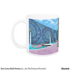 Zen Lotus Bath Poetry 11 oz. Classic White Mug. Meditate upon the blissful sights and sounds of running water set in an ancient outdoor Roman bath.  Poem reads: Clouds alight in Paradise to meditate Upon the Zen of Water pooling in gentle Ripples around lotus bliss ©Eleanor D'Occitania
