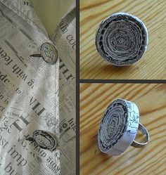 Bague en papier journal